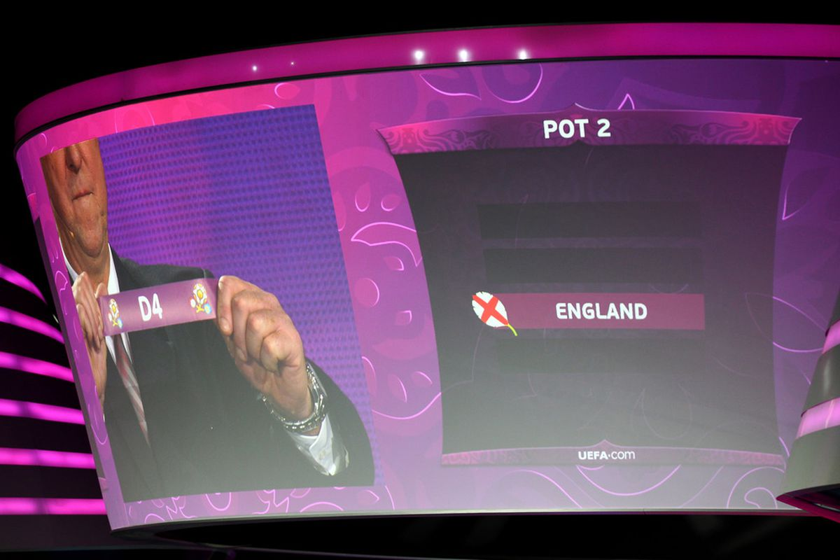 KIEV, UKRAINE - DECEMBER 02:  England are drawn during the UEFA EURO 2012 Final Draw Ceremony on December 2, 2011 in Kiev, Ukraine.  (Photo by Julian Finney/Getty Images)