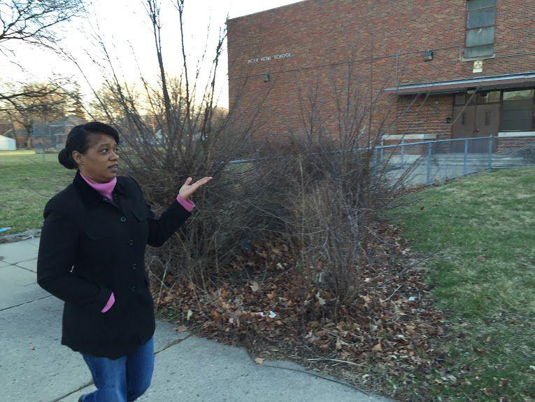 The Vetal school is one of many in Dawn Wilson's Brightmoor neighborhood that have been shuttered. (Photo by: Erin Einhorn/Chalkbeat Detroit)
