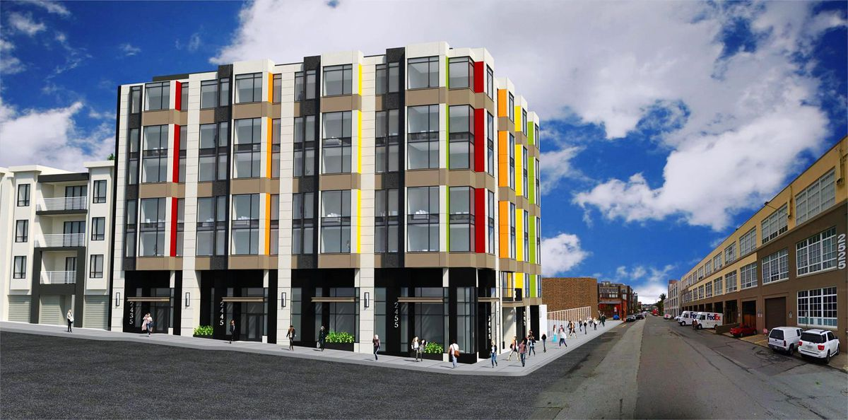 Rendering of the striped building proposed for 16th Street