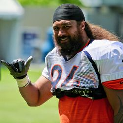 Broncos NT and all around nice guy Domata Peko Sr. poses for me on his way to the locker room after practice.