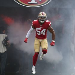 San Francisco 49ers linebacker Fred Warner enters the field prior to a NFL football game against the Pittsburgh Steelers Sunday, Sept. 22, 2019, in Santa Clara, Calif. The 49ers won 24-20.