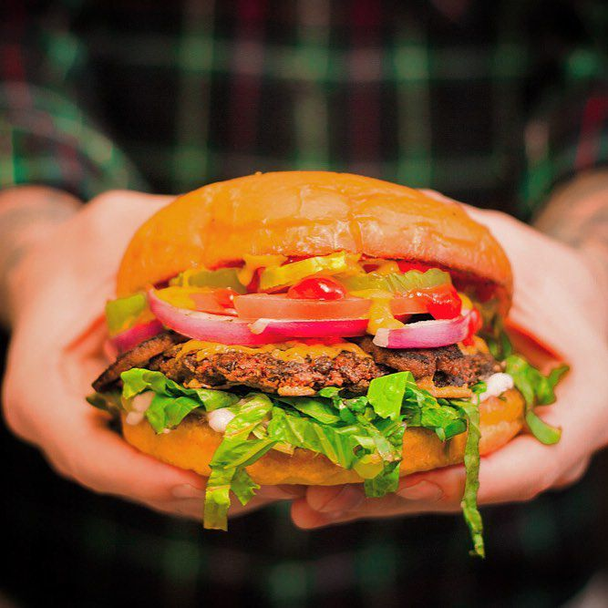 The veggie burger from Arlo's