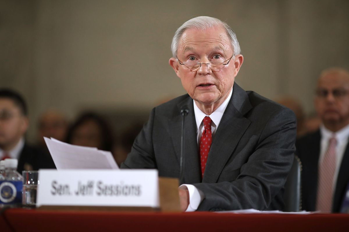 Alabama Sen. Jeff Sessions testifies at a Senate hearing over his nomination for attorney general.
