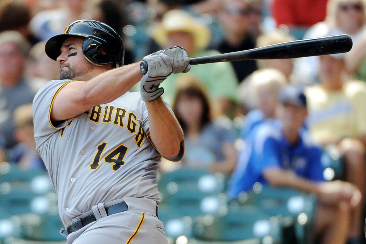 Sept 2, 2012; Milwaukee, WI, USA;   Pittsburgh Pirates first baseman Gaby Sanchez (14) hits a 2-run home run in the fifth inning during the game against the Milwaukee Brewers at Miller Park.  Mandatory Credit: Benny Sieu-US PRESSWIRE