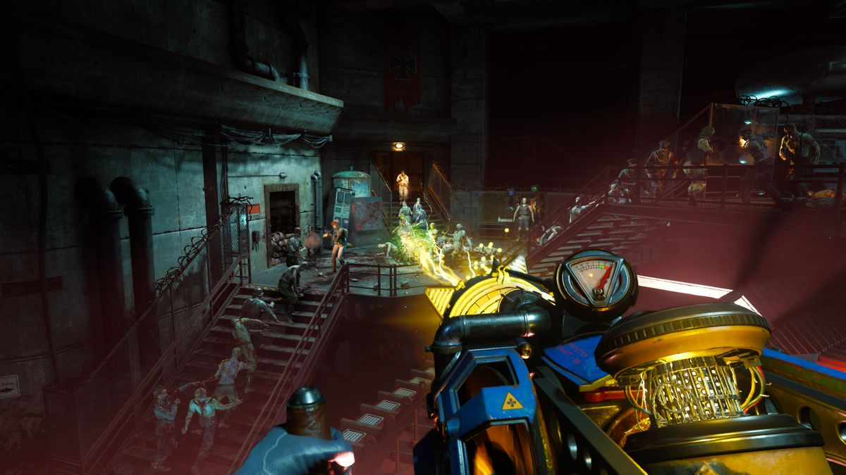 A player in Call of Duty: Black Ops Cold War fighting off hordes of zombies