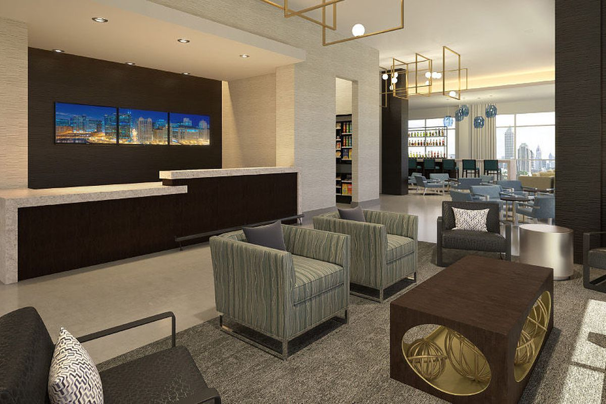 A rendering of a lobby, with the skyline seen out the windows.