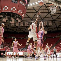 Utah's Janita Badon's last-second shot misses the mark and the University of Utah loses 105-96 to Texas Christian University in quadruple overtime at the Huntsman Center in Salt Lake City on Wednesday.