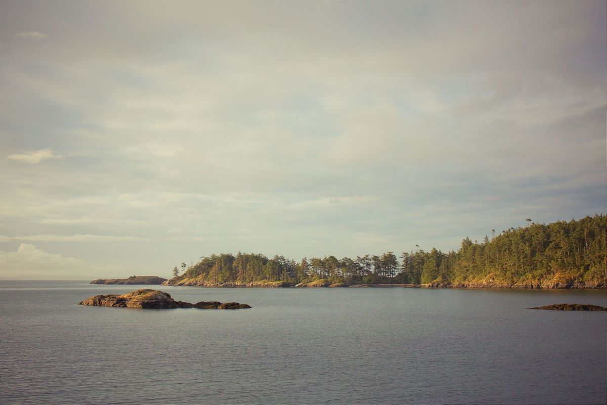 Landscape of Lopez Island and the water.