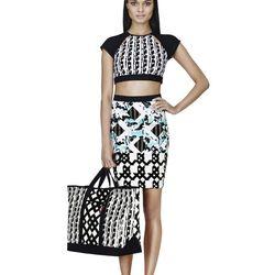 Bikini Crop Top in Black/White Print, $24.99; Skirt in Light Blue Floral/Check Print, $34.99; Tote in Black/White Print, $39.99; Slip-On Shoe in Black/White Print, $29.99