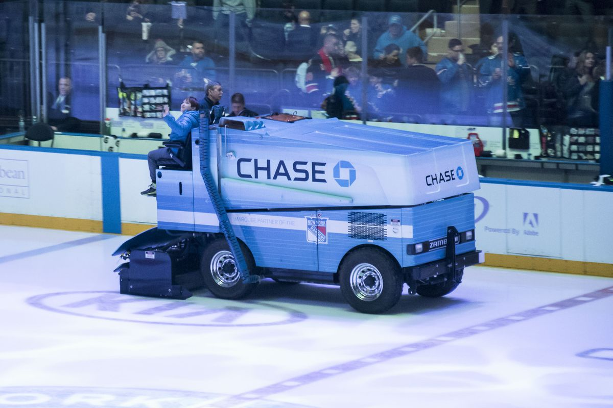 NEW YORK, NY - NOVEMBER 28:  Frankie Lane rides the Zamboni during the New York Rangers game at Madison Square Garden on November 28, 2017 in New York City.  (Photo by Eugene Gologursky/Getty Images for Stellar Productions)