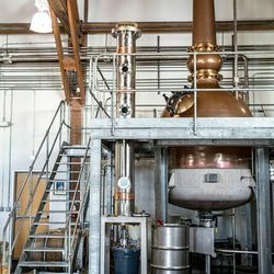 The 1,000-gallon, hand-hammered, copper alembic pot still and its surrounding scaffolding was custom-made in Scotland.