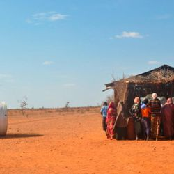 Refugees in southern Ethiopia line up to receive aid supplies through the LDS Church and its partners during a drought in 2011.