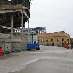 11:34 a.m. The bleacher patio behind the center-field scoreboard -