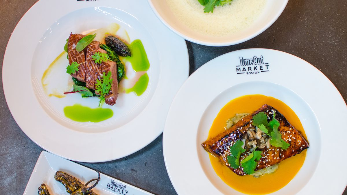 A selection of dishes from Tasting Counter's Time Out Market Boston menu