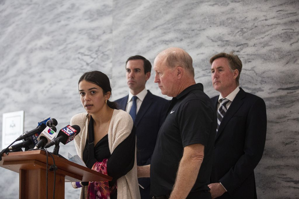 Shannon Ryan recounts her mothers personality and reflects on the incident during a press conference, to announce a lawsuit after a hit and run left Zoraleigh Ryan, 55, dead, at 161 N Clark St in the Loop, Wednesday, Aug. 26, 2020.