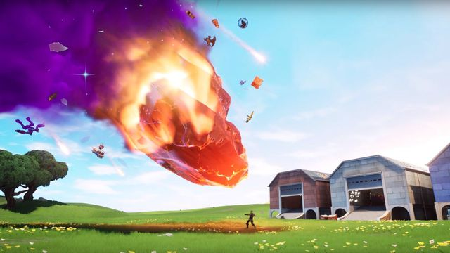Jonesy stands outside of Fortnite's Dusty Depot while a meteor approaches