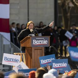 Ald. Sue Sadlowski Garza (10th) speaks to thousands gathered at the Bernie Sanders rally Saturday, March 7, 2020 in Grant Park.
