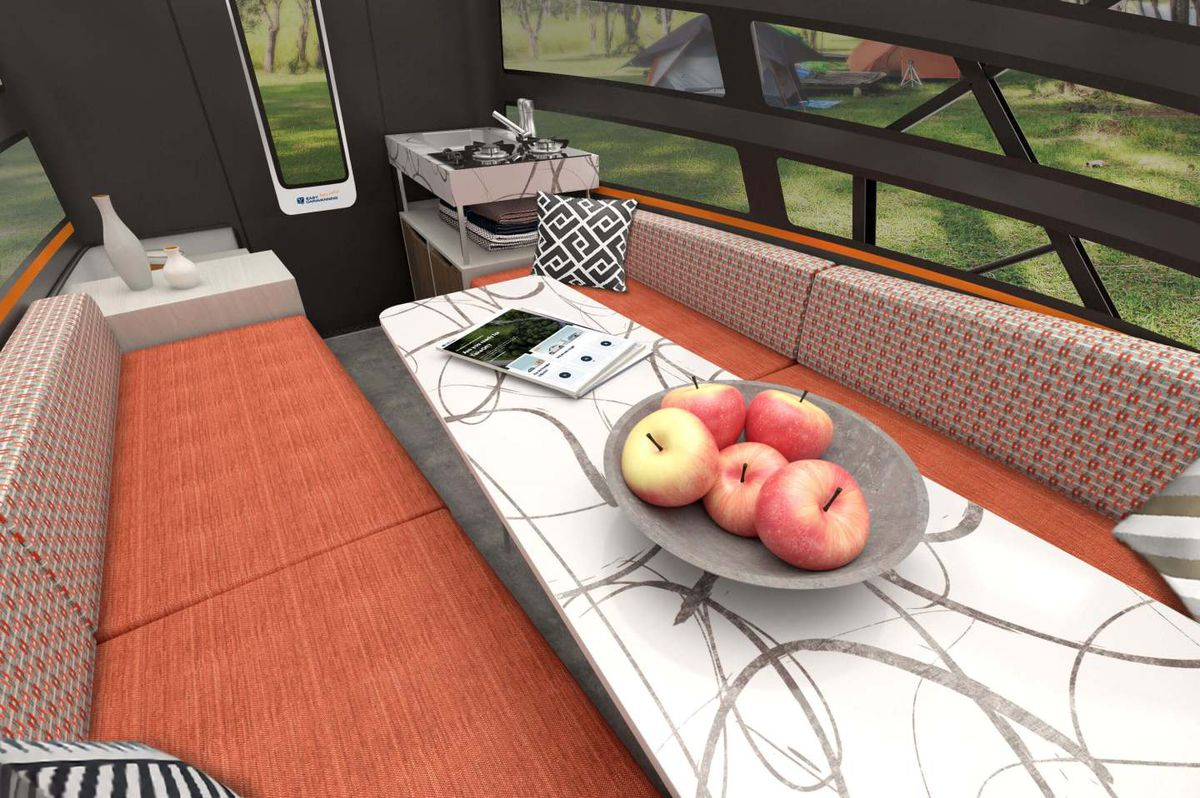 Another rendering shows a swirly white table with orange bench seat.