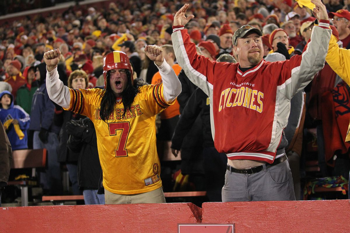 AMES, IA - NOVEMBER 18:  Fans cheer on the Iowa State Cyclones against the Oklahoma State Cowboys at Jack Trice Stadium November 18, 2011 in Ames, Iowa.  (Photo by Reese Strickland/Getty Images)