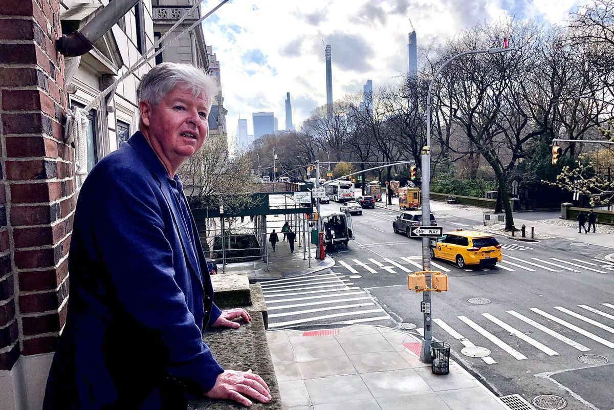Christopher Cahill, director of the American Irish Historical Society, overlooks the Fifth Avenue St. Patrick's Day parade route.