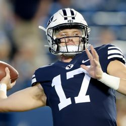 Brigham Young Cougars quarterback Jacob Conover (17) warms up as BYU and USF prepare to play a college football game at LaVell Edwards Stadium in Provo on Saturday, Sept. 25, 2021.