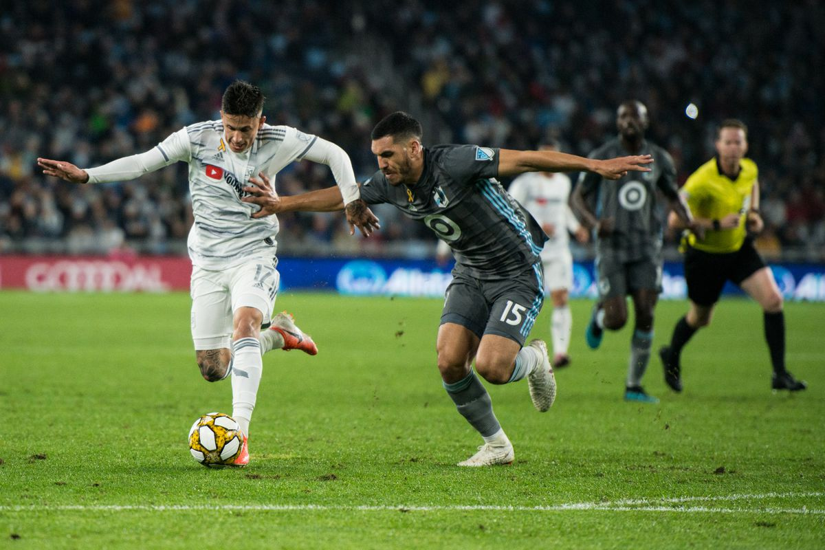 September 29, 2019 - Saint Paul, Minnesota, United States -Boxall tries to stop a break during an MLS match between Minnesota United and Los Angeles Football Club at Allianz Field (Photo: Tim C McLaughlin)