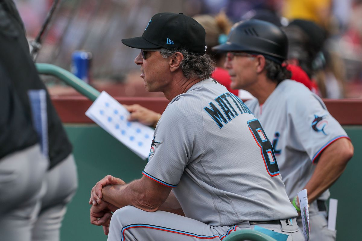 Miami Marlins Manager Don Mattingly (8) reacts during the third inning against the Boston Red Sox at Fenway Park