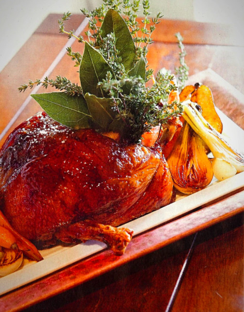 Salts whole roasted duck for two
