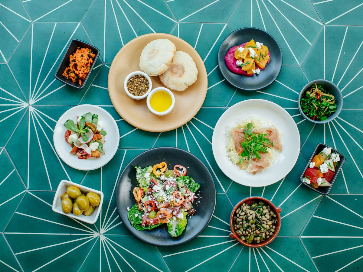 A selection of bright, fresh mezze at Sachet