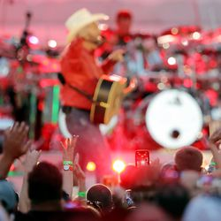Country music superstar Garth Brooks performs at Rice-Eccles Stadium at the University of Utah in Salt Lake City on Saturday, July 17, 2021.
