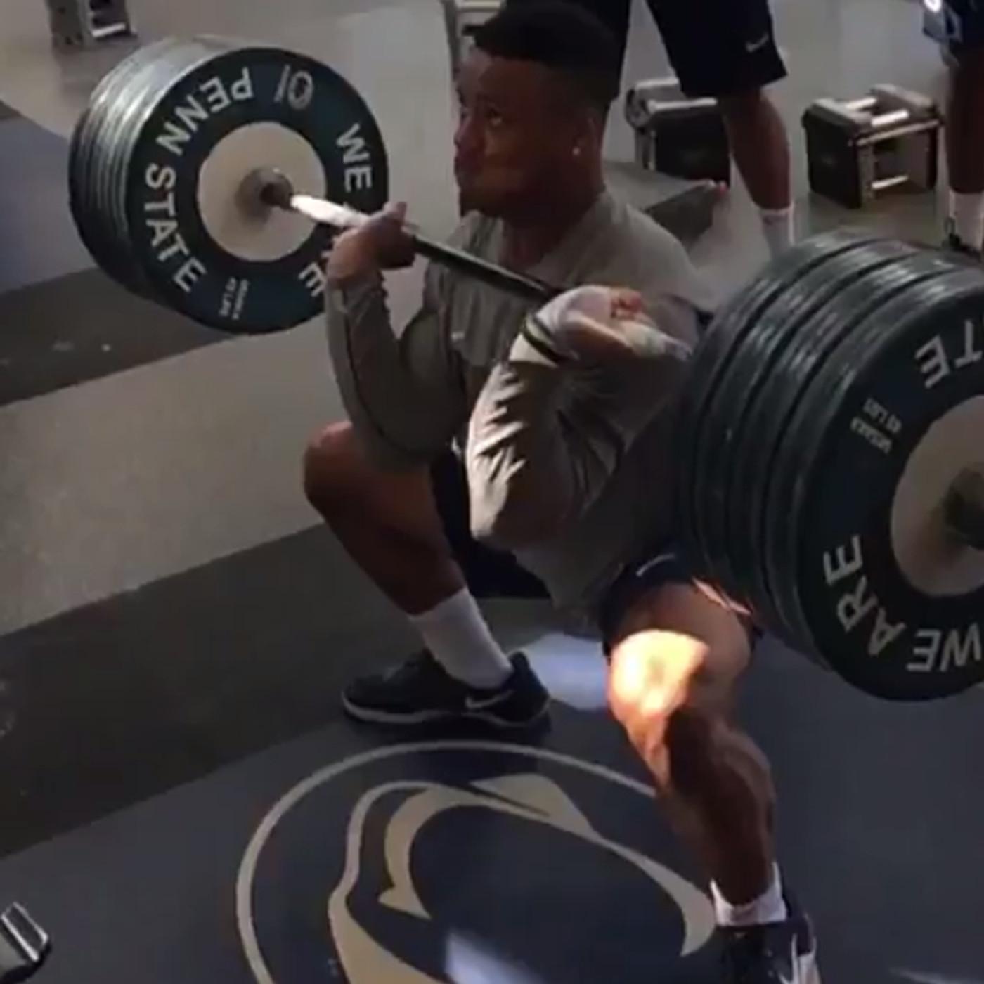 Running Back Saquon Barkleys Now Broken A Penn State Weightlifting Record