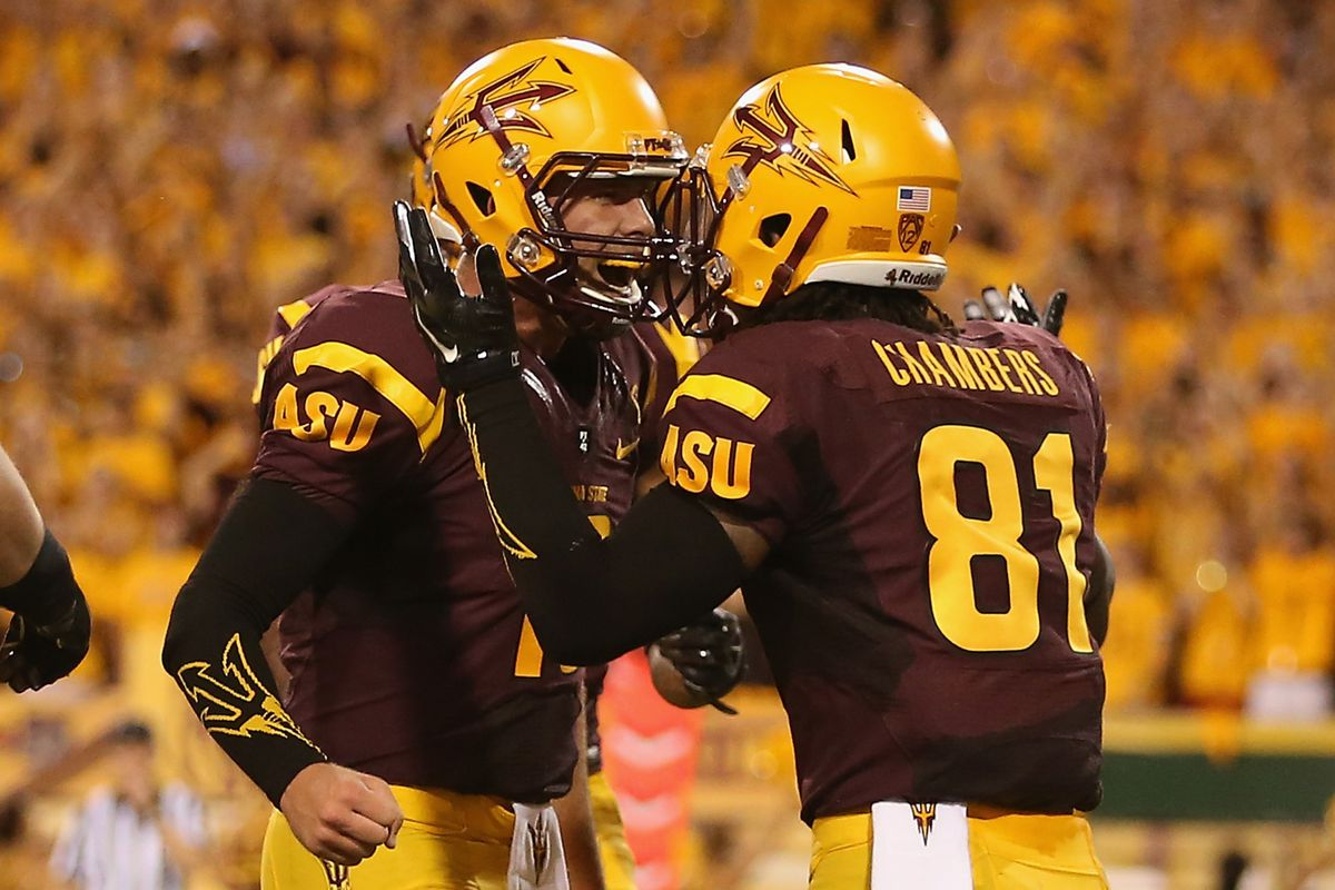 Gary Chamber #81 celebrates his first Sun Devil touchdown with Taylor Kelly #10