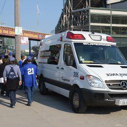 4:33 p.m. Ballpark ambulance stationed on Waveland -