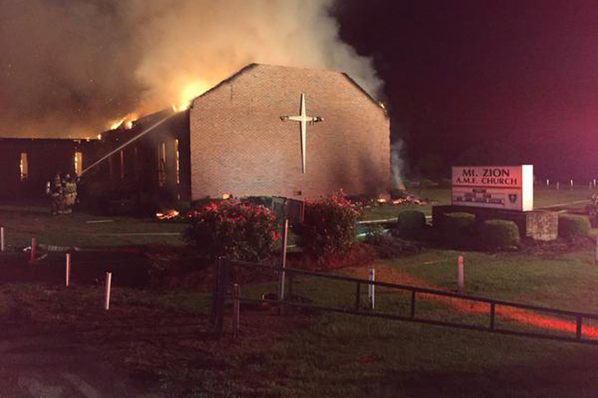 A fire at Mt. Zion AME Church in Greeleyville, SC, on June 30. Investigators say the fire was likely not intentionally set.
