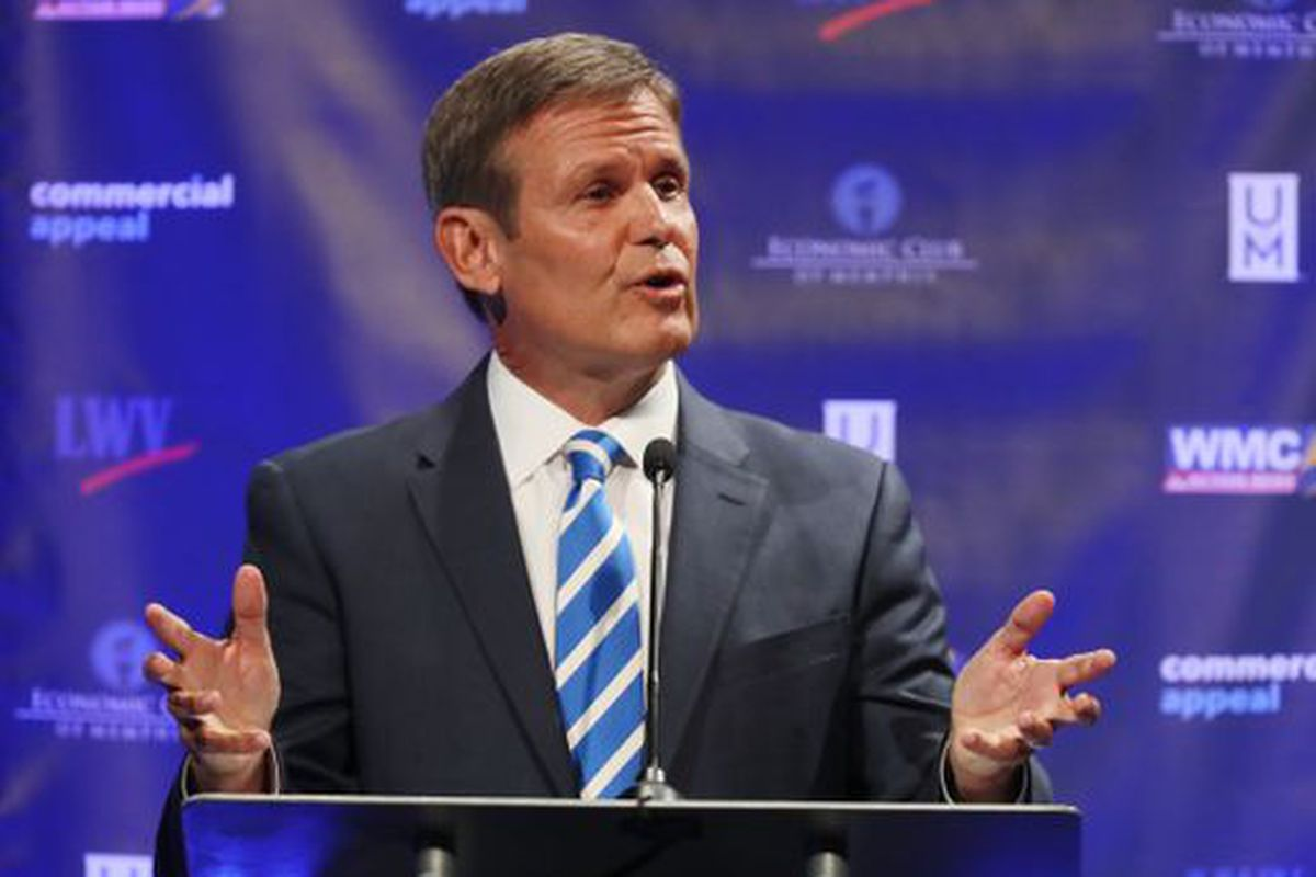 Republican Bill Lee speaks during an Oct. 3 gubernatorial debate in Memphis on the road to becoming Tennessee's next governor.