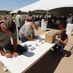 Comment cards are filled out during a meeting with Interior Secretary Sally Jewell in Bluff in southern Utah on Saturday, July 16, 2016.