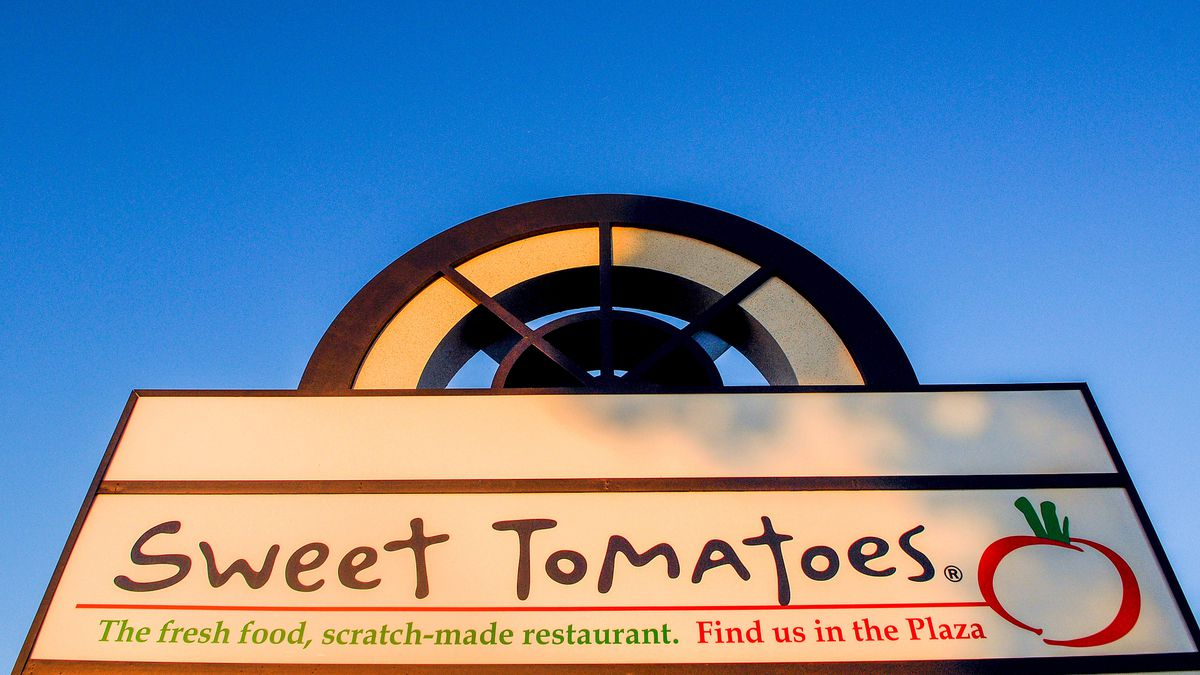 A sign at a Sweet Tomatoes restaurant that was temporarily closed due to the COVID-19 pandemic is seen on the day that Garden Fresh Restaurants announced that it will not reopen its 97 Sweet Tomatoes and Souplantation locations across the United States