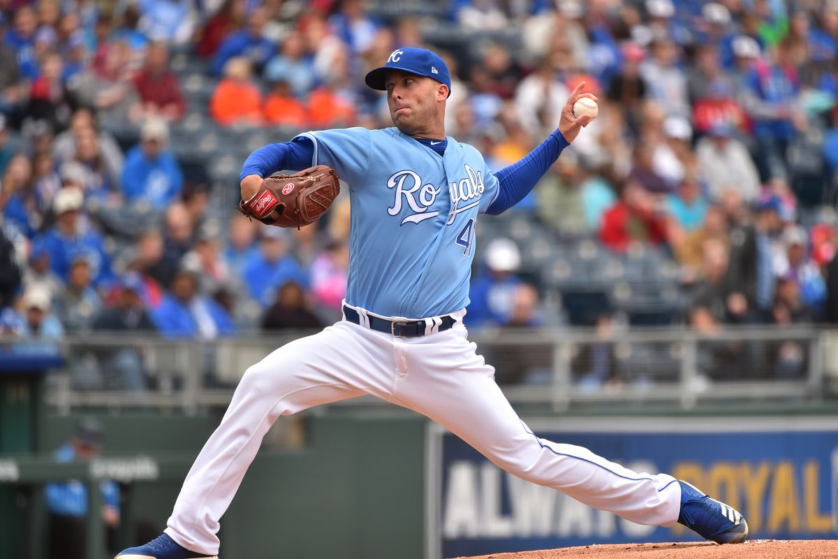 Starting pitcher Danny Duffy #41 of the Kansas City Royals throws in the first inning against the Tampa Bay Rays at Kauffman Stadium on May 02, 2019 in Kansas City, Missouri.