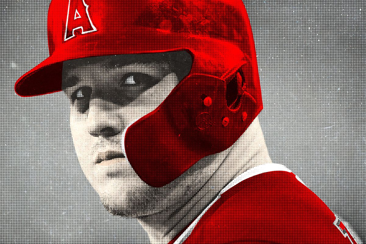 613b89279 Getty Images Ringer illustration. Angels center fielder and divine baseball  being Mike Trout ...