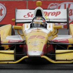 IndyCar driver Ryan Hunter-Reay, of the U.S, steers his car during the IndyCar's Sao Paulo 300, in Sao Paulo, Brazil, Sunday, April 29, 2012.