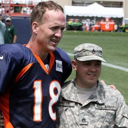 Peyton Manning met with military personnel following Wednesday's practice. He always does.