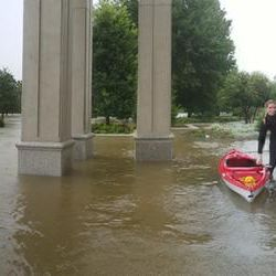 Using kayaks, Christine Haines, daughter of Albert Haines, a counselor in the Houston Texas Temple presidency, and a friend checked on the flooding surrounding the temple on Monday, Aug. 28, 2017.