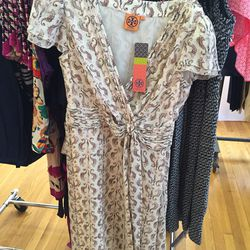 Dress with seahorse print, $200