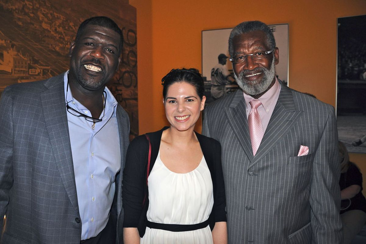 Randall McDaniel, Skol Girl, and Bobby Bell. This is how tiny I look next to them even with high heels on! More photos available on our Facebook page.