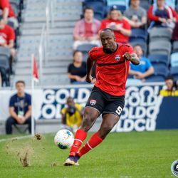 June 18, 2019 - Saint Paul, Minnesota, United States - Trinidad And Tobago defender Daneil Cyrus (5) during the Panama vs Trinidad and Tobago match at Allianz Field.