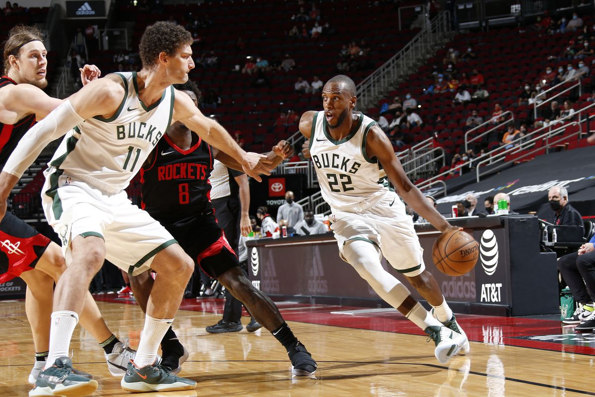 Khris Middleton #22 of the Milwaukee Bucks dribbles the ball during the game against the Houston Rockets on April 29, 2021 at the Toyota Center in Houston, Texas.