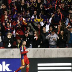 Real Salt Lake's Fabian Espindola celebrates his score, which tied a club record for most goals with RSL.