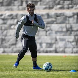 Real Salt Lake's Kyle Beckerman trains during the first day of voluntary individual training at the RSL Academy on Thursday, May 7, 2020.