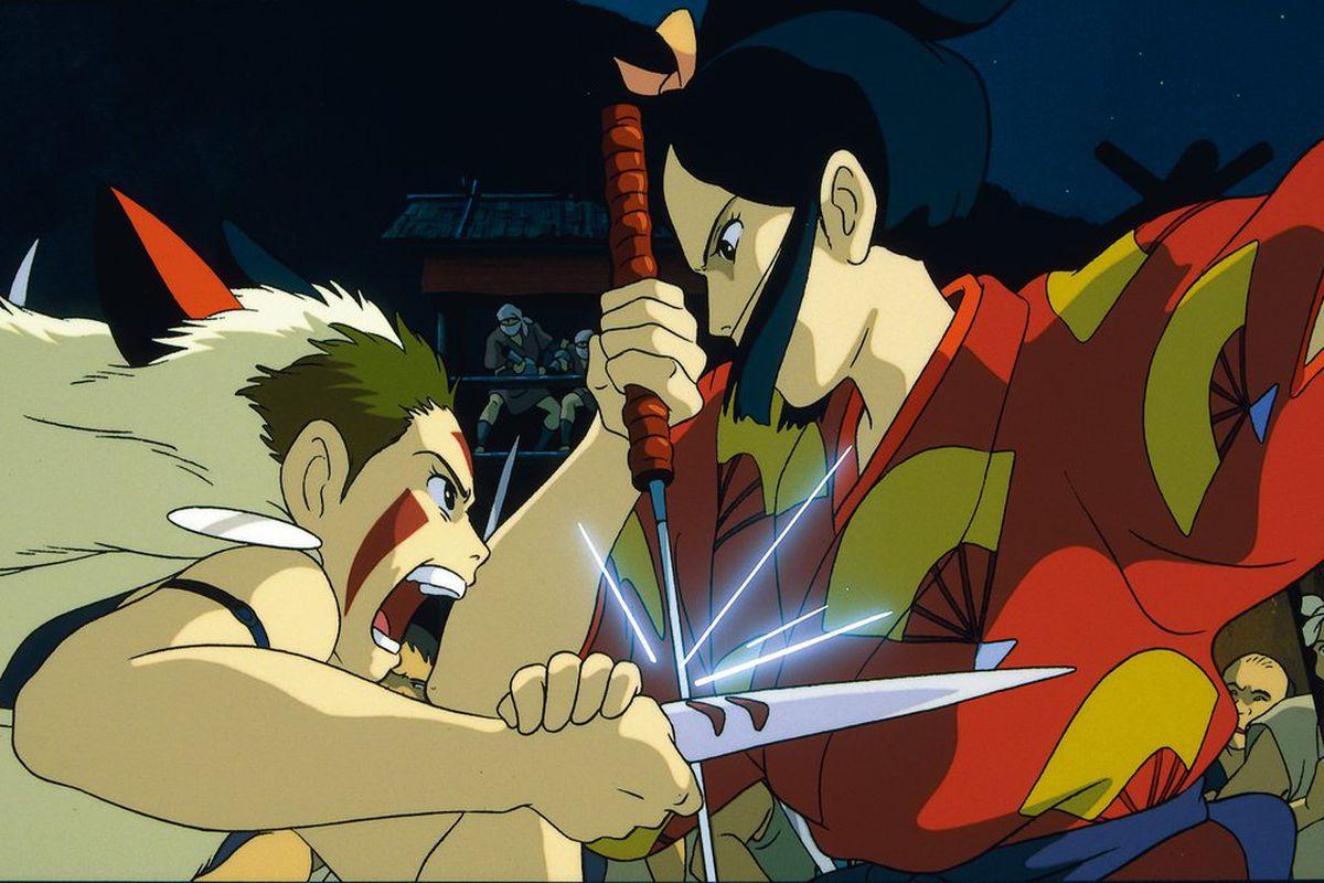 princess mononoke fights lady eboshi with a dagger