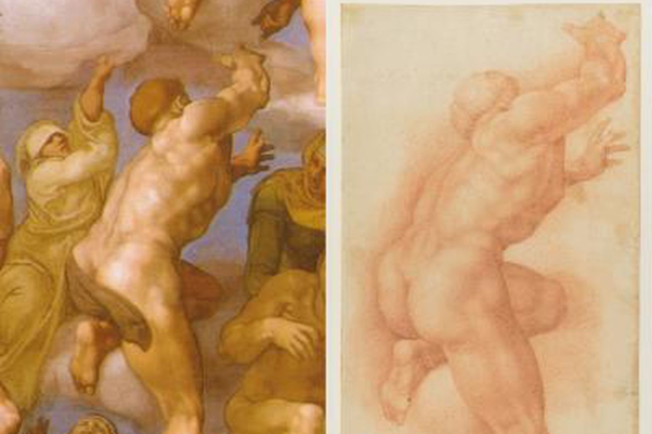 "<em>Detail from ""Ascesa Dei Beati,"" part of Michelangelo Buonarroti's Sistine Chapel. On the right is a 16th century drawing reproducing the same detail. An inscription ""di mano di Michelangelo"" (from Michelangelo's hand), on the bottom-left side of the drawing, was hidden by a tape and revealed after restoration.</em>"